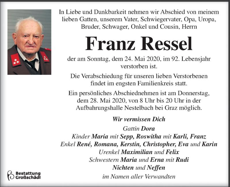 Traueranzeige für Franz Ressel vom 27.05.2020 aus Kleine Zeitung