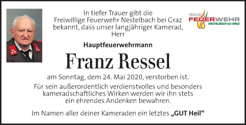 Traueranzeige für Franz Ressel vom 28.05.2020 aus Kleine Zeitung