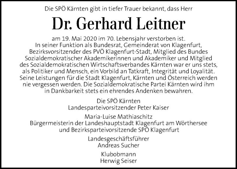 Traueranzeige für Gerhard Leitner vom 21.05.2020 aus Kleine Zeitung