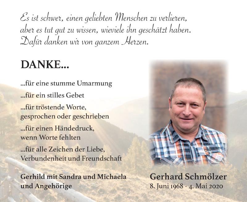 Traueranzeige für Gerhard Schmölzer vom 31.05.2020 aus Kleine Zeitung