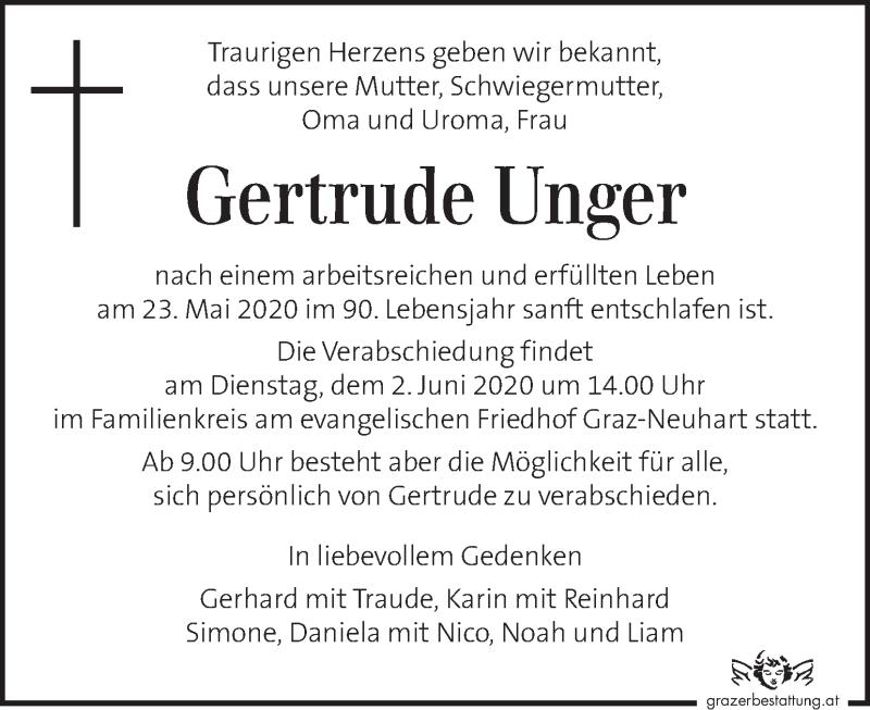 Traueranzeige für Gertrude Unger vom 28.05.2020 aus Kleine Zeitung