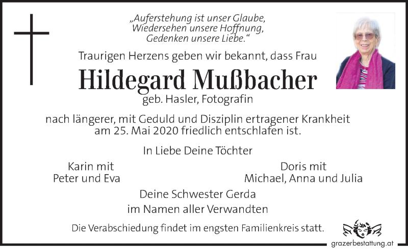 Traueranzeige für Hildegard Mußbacher vom 28.05.2020 aus Kleine Zeitung