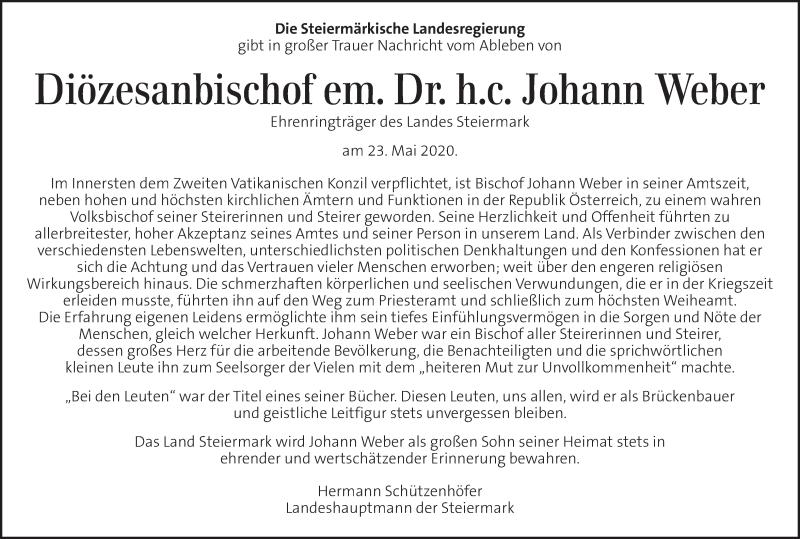 Traueranzeige für Johann Weber vom 27.05.2020 aus Kleine Zeitung