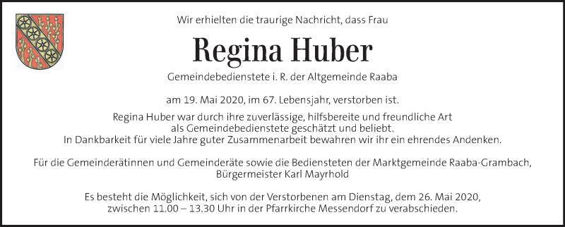 Traueranzeige für Regina Huber vom 26.05.2020 aus Kleine Zeitung