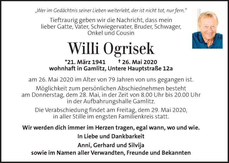 Traueranzeige für Willi Ogrisek vom 28.05.2020 aus Kleine Zeitung