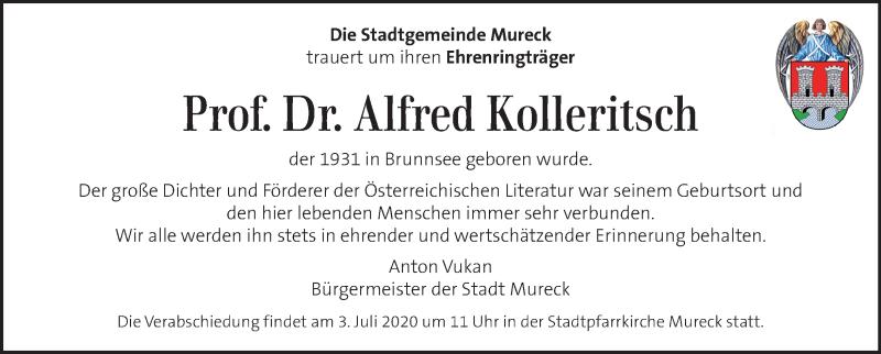 Traueranzeige für Alfred Kolleritsch   vom 21.06.2020 aus Kleine Zeitung