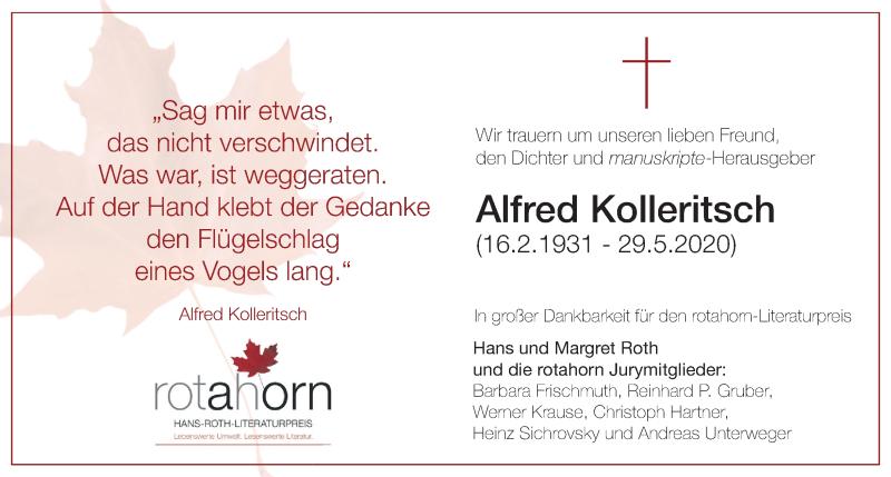Traueranzeige für Alfred Kolleritsch   vom 07.06.2020 aus Kleine Zeitung