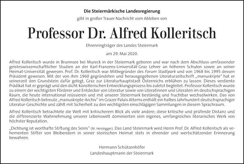 Traueranzeige für Alfred Kolleritsch   vom 04.06.2020 aus Kleine Zeitung