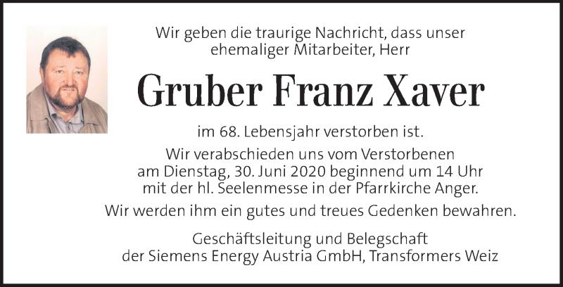 Traueranzeige für Franz Xaver Gruber  vom 30.06.2020 aus Kleine Zeitung