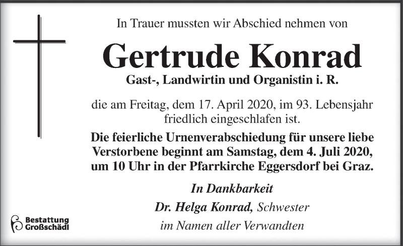 Traueranzeige für Gertrude Konrad vom 30.06.2020 aus Kleine Zeitung
