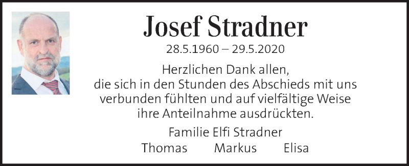 Traueranzeige für Josef Stradner vom 10.06.2020 aus Kleine Zeitung