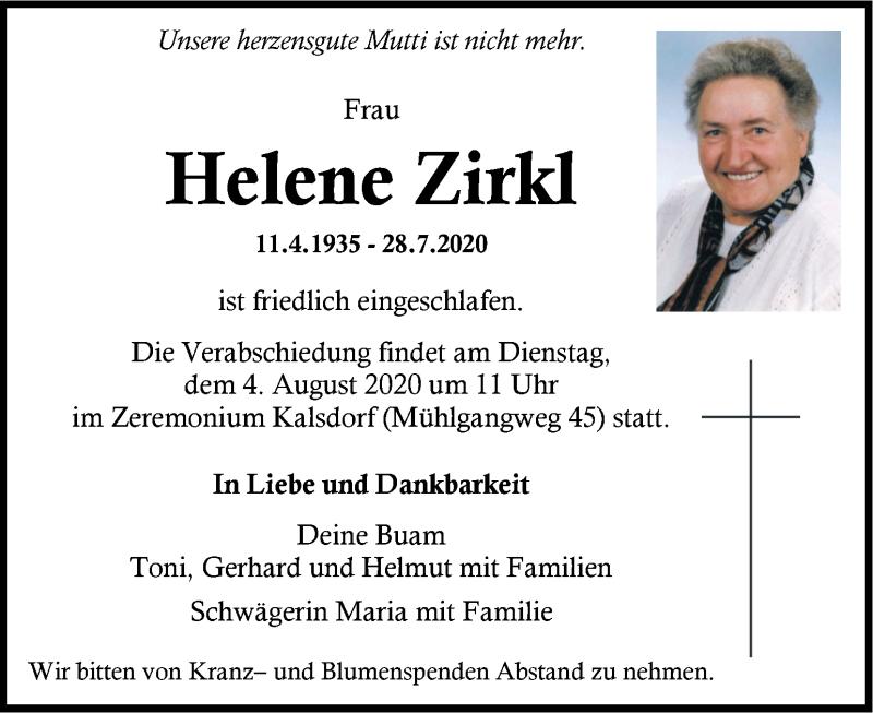 Traueranzeige für Helene Zirkl vom 01.08.2020 aus Kleine Zeitung