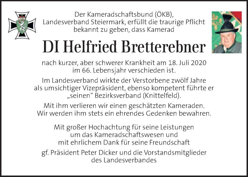 Traueranzeige für Helfried Bretterebner vom 28.07.2020 aus Kleine Zeitung