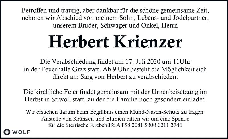 Traueranzeige für Herbert Krienzer vom 16.07.2020 aus Kleine Zeitung
