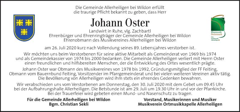 Traueranzeige für Johann Oster vom 29.07.2020 aus Kleine Zeitung