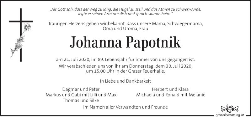 Traueranzeige für Johanna Papotnik vom 28.07.2020 aus Kleine Zeitung