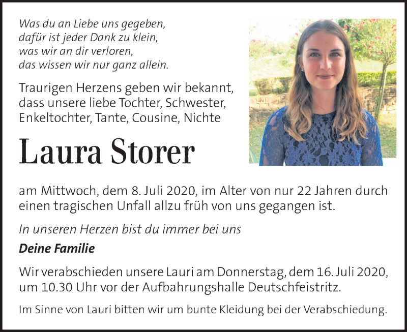 Traueranzeige für Laura Storer vom 14.07.2020 aus Kleine Zeitung