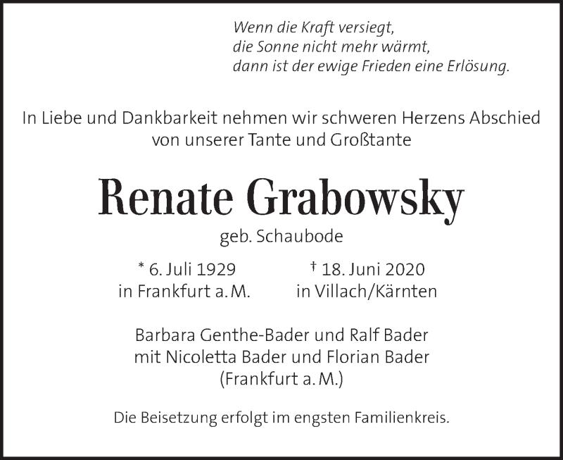Traueranzeige für Renate Grabowsky vom 04.07.2020 aus Kleine Zeitung