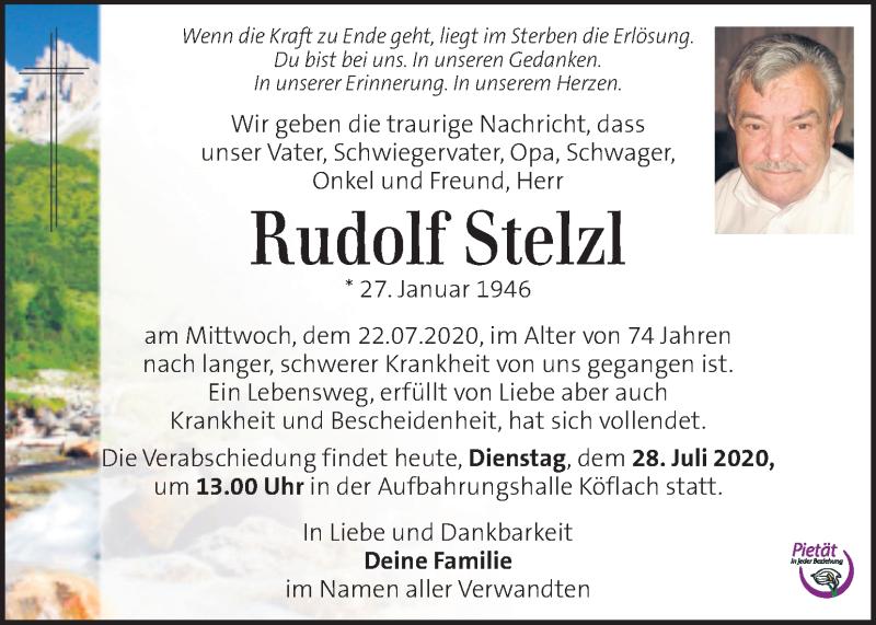 Traueranzeige für Rudolf Stelzl vom 28.07.2020 aus Kleine Zeitung
