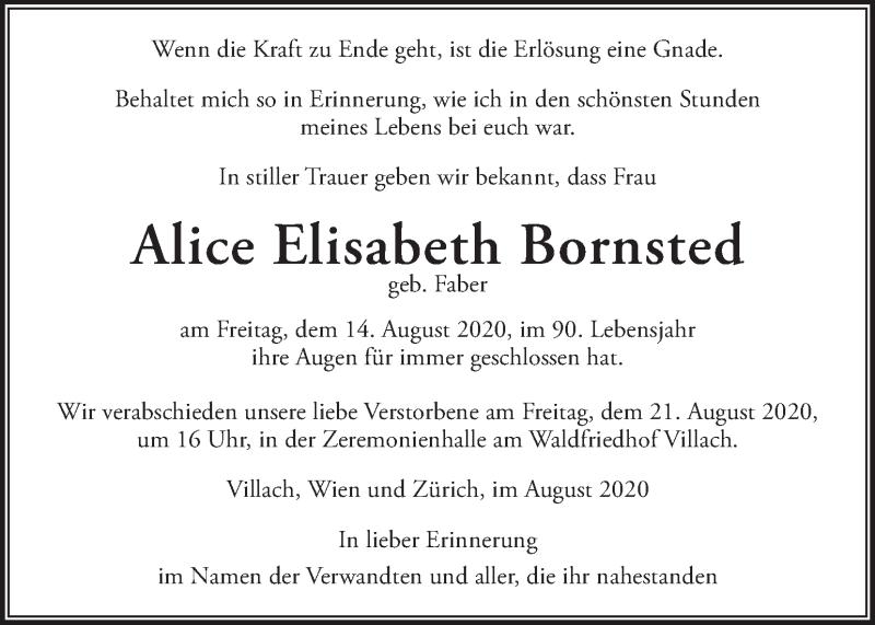 Traueranzeige für Alice Elisabeth Bornsted vom 19.08.2020 aus Kleine Zeitung