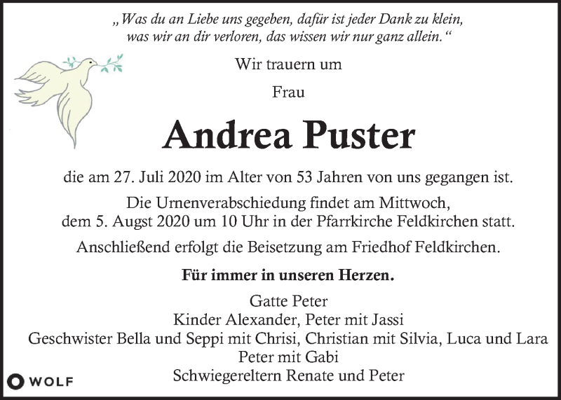 Traueranzeige für Andrea Puster vom 02.08.2020 aus Kleine Zeitung