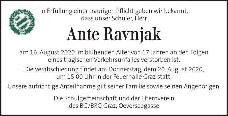Traueranzeige für Ante Ravnjak vom 20.08.2020 aus Kleine Zeitung