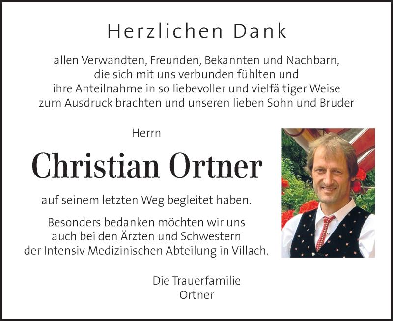 Traueranzeige für Christian Ortner vom 22.08.2020 aus Kleine Zeitung