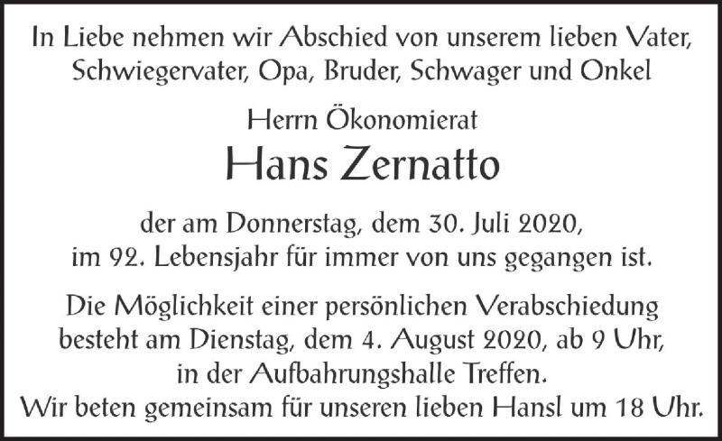 Traueranzeige für Hans Zernatto vom 02.08.2020 aus Kleine Zeitung