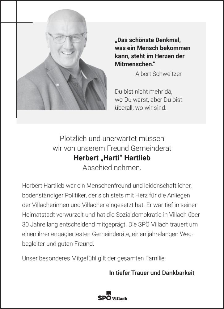 Traueranzeige für Herbert Hartlieb vom 26.08.2020 aus Kleine Zeitung
