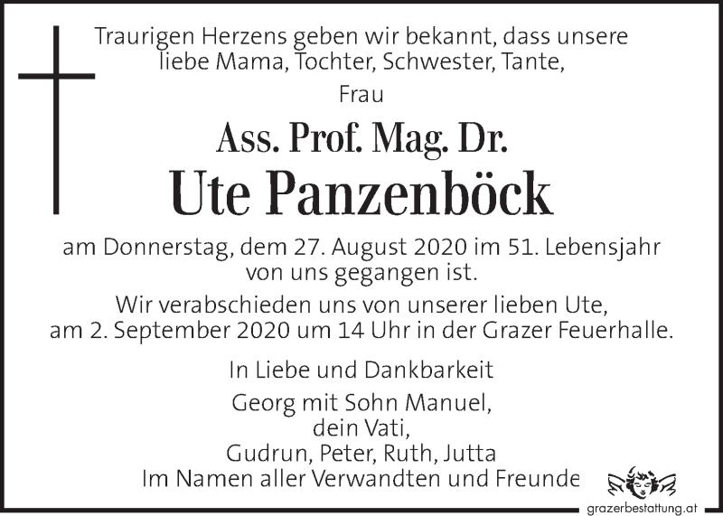 Traueranzeige für Ute Panzenböck vom 30.08.2020 aus Kleine Zeitung