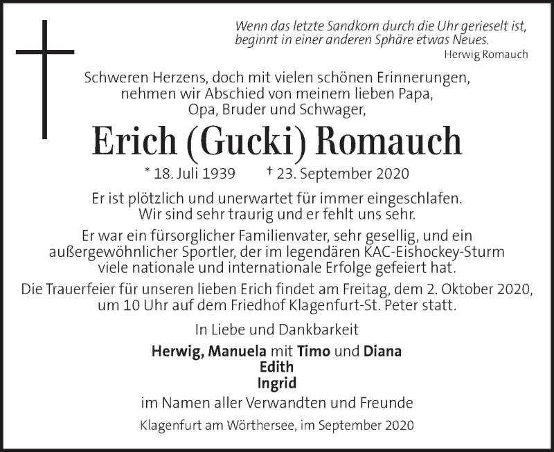 Traueranzeige für Erich Romauch vom 29.09.2020 aus Kleine Zeitung