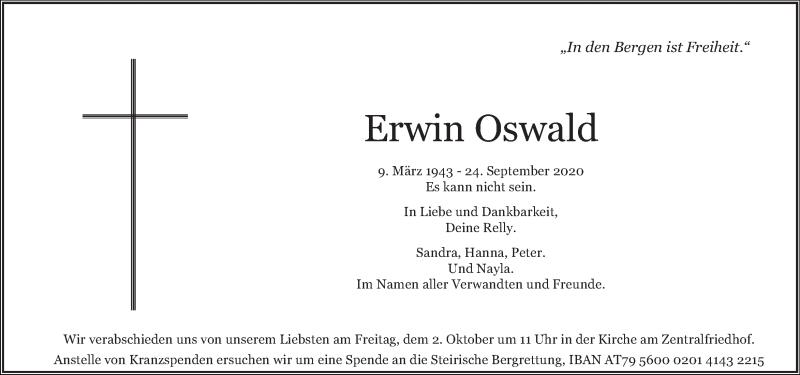 Traueranzeige für Erwin Oswald vom 29.09.2020 aus Kleine Zeitung