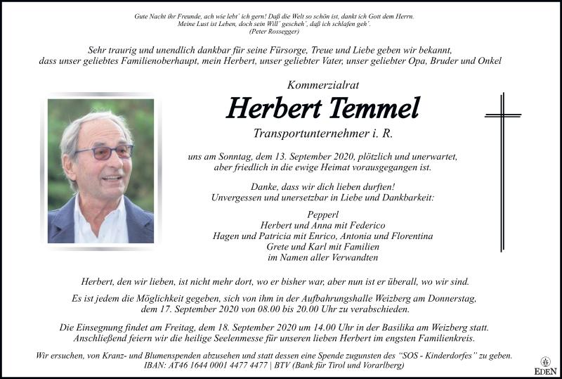 Traueranzeige für Herbert Temmel vom 16.09.2020 aus Kleine Zeitung