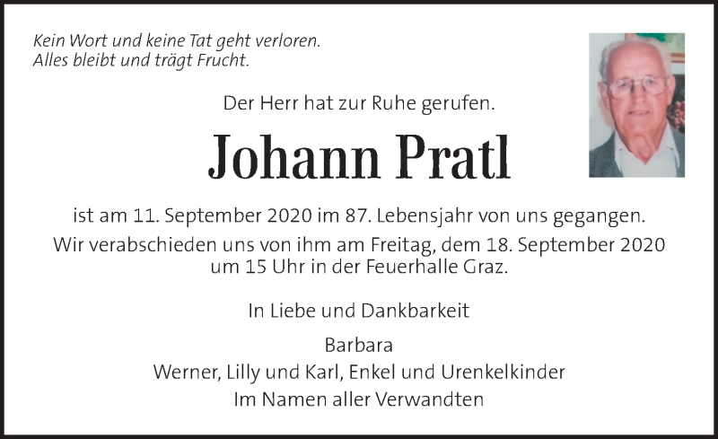Traueranzeige für Johann Pratl vom 16.09.2020 aus Kleine Zeitung