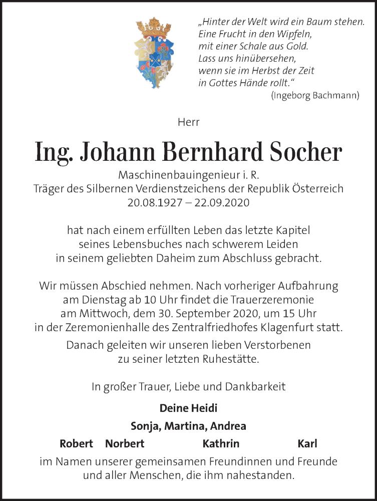 Traueranzeige für Johann Bernhard Socher vom 27.09.2020 aus Kleine Zeitung