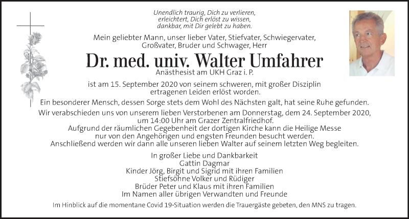 Traueranzeige für Walter Umfahrer vom 18.09.2020 aus Kleine Zeitung