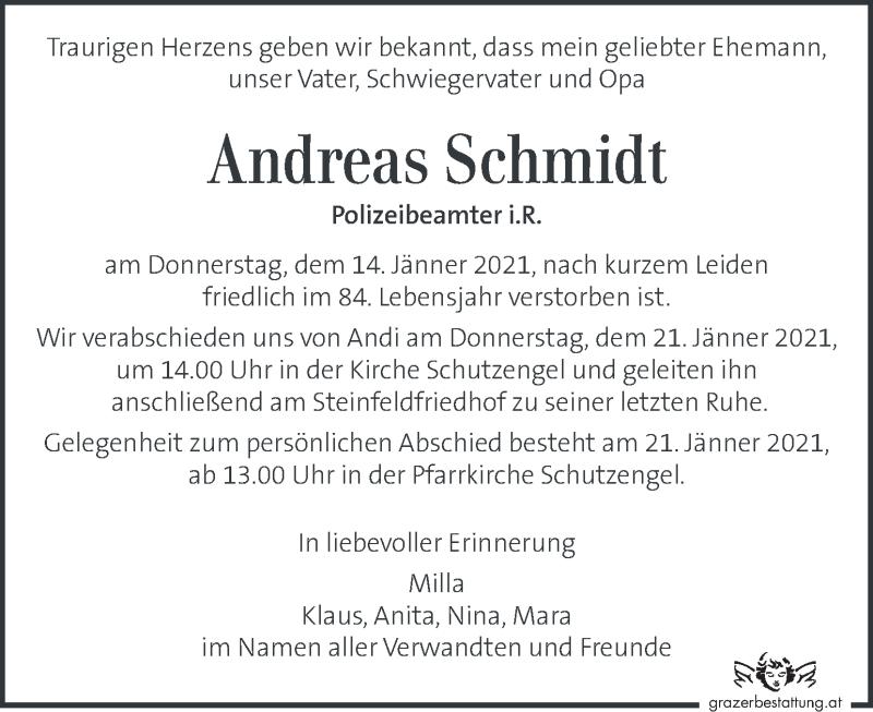 Traueranzeige für Andreas Schmidt vom 17.01.2021 aus Kleine Zeitung