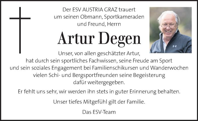 Traueranzeige für Artur Degen vom 12.01.2021 aus Kleine Zeitung