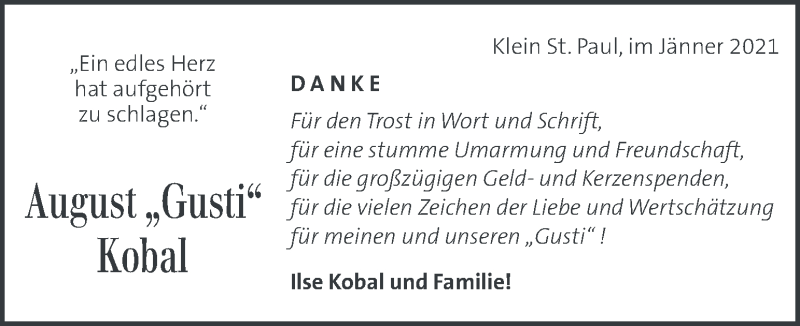 Traueranzeige für August Kobal  vom 14.01.2021 aus Kleine Zeitung