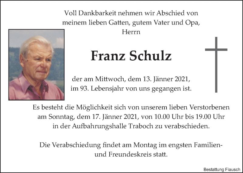 Traueranzeige für Franz Schulz vom 16.01.2021 aus Kleine Zeitung