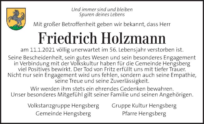 Traueranzeige für Friedrich Holzmann vom 15.01.2021 aus Kleine Zeitung