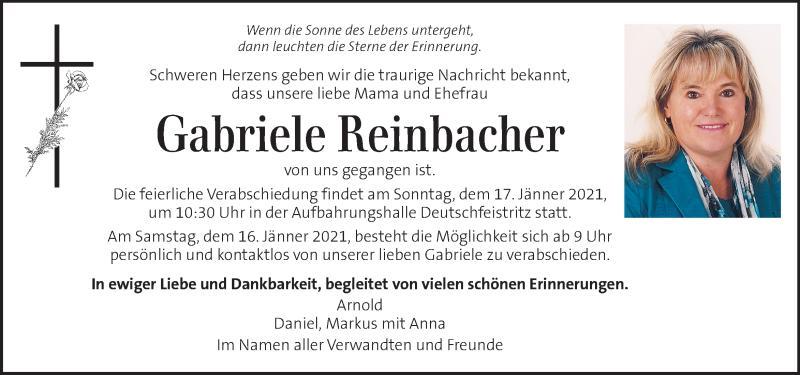 Traueranzeige für Gabriele Reinbacher  vom 13.01.2021 aus Kleine Zeitung