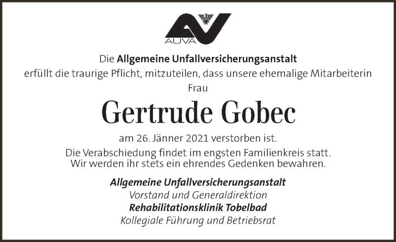 Traueranzeige für Gertrude Gobec vom 30.01.2021 aus Kleine Zeitung