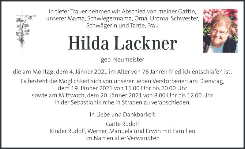 Traueranzeige für Hilda Lackner vom 17.01.2021 aus Kleine Zeitung