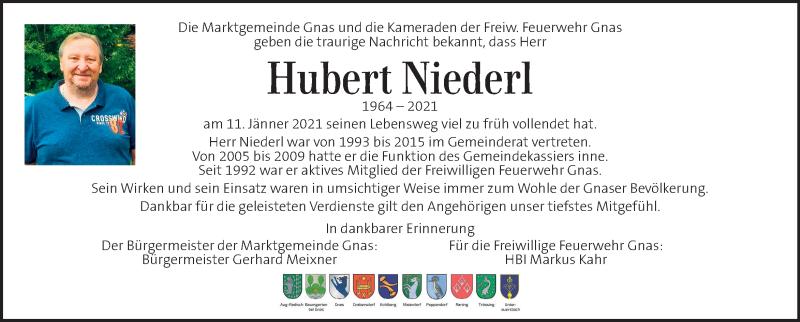 Traueranzeige für Hubert Niederl vom 14.01.2021 aus Kleine Zeitung