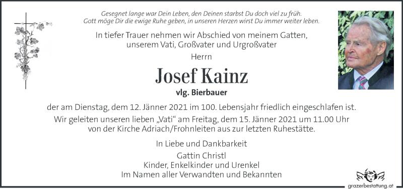 Traueranzeige für Josef Kainz vom 14.01.2021 aus Kleine Zeitung