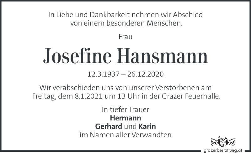 Traueranzeige für Josefine Hansmann vom 03.01.2021 aus Kleine Zeitung