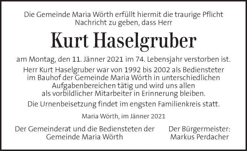 Traueranzeige für Kurt Haselgruber vom 14.01.2021 aus Kleine Zeitung