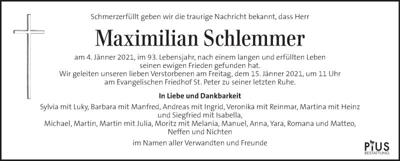 Traueranzeige für Maximilian Schlemmer vom 10.01.2021 aus Kleine Zeitung