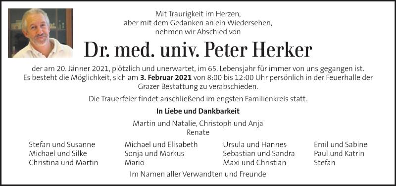 Traueranzeige für Peter Herker vom 28.01.2021 aus Kleine Zeitung